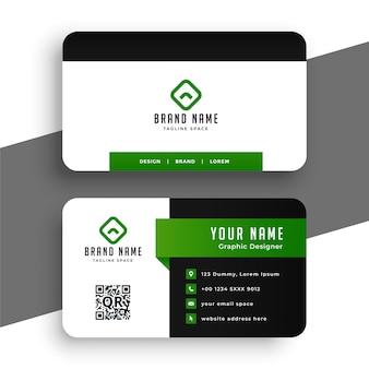 Modelo de design de cartão de visita verde profissional