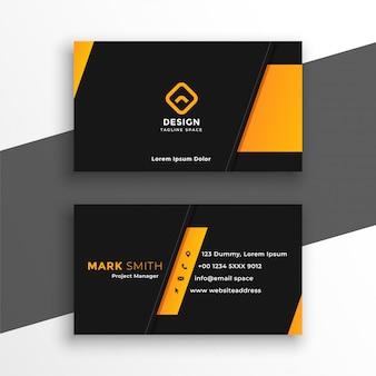 Modelo de design de cartão moderno preto e amarelo