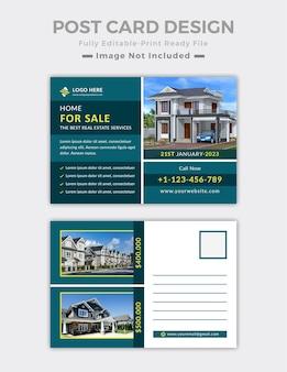 Modelo de design de cartão postal de imóveis ou layout de cartão postal de casa para venda