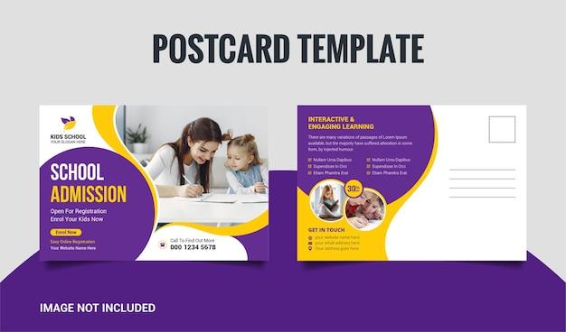 Modelo de design de cartão postal para admissão escolar