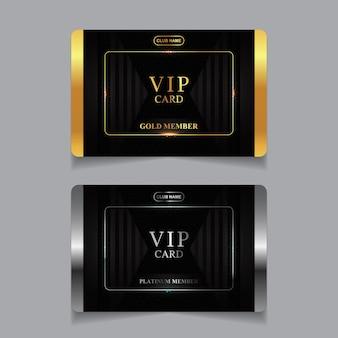 Modelo de design de cartão vip de luxo dourado e platina