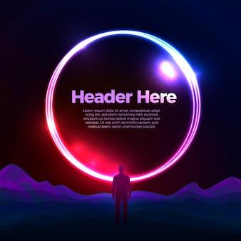 Modelo de design de cartaz de banner de vetor com portal de círculo brilhante sobre as montanhas com um homem