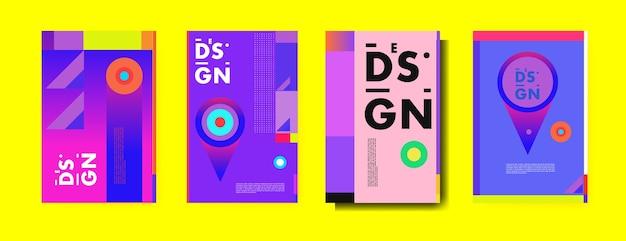 Modelo de design de cartaz de colagem colorido abstrato
