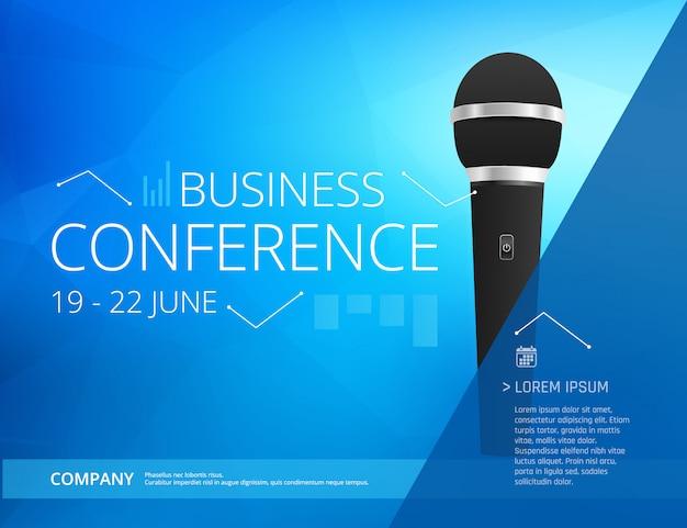 Modelo de design de cartaz de conferência de negócios com microfone.