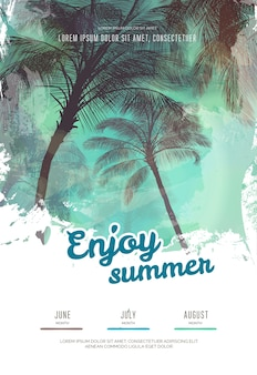 Modelo de design de cartaz de festa de verão com silhuetas de palmeiras. estilo moderno. ilustração vetorial