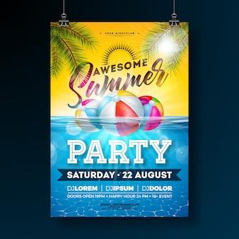 Modelo de design de cartaz de festa na piscina de verão com folhas de palmeira e bola de praia no fundo do oceano subaquático azul. ilustração de férias para banner, flyer, convite, cartaz.