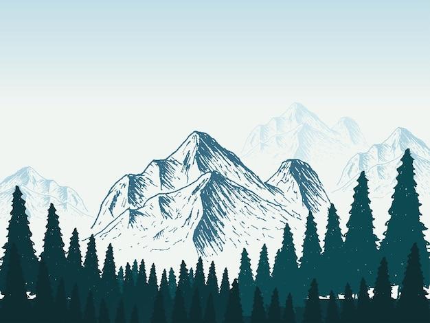 Modelo de design de cartaz de paisagem de montanha