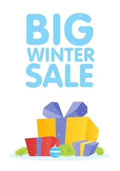 Modelo de design de cartaz de venda de inverno ou plano de fundo. vetor promocional de negócios criativos.