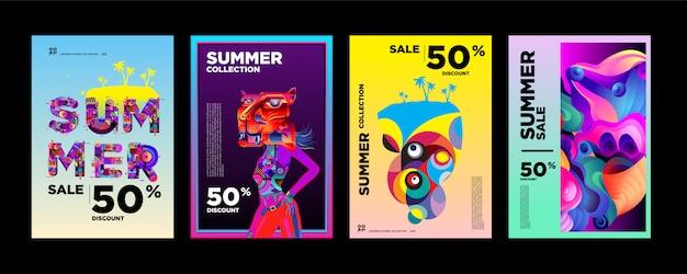 Modelo de design de cartaz de venda de verão com 50% de desconto