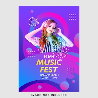 Modelo de design de cartaz música fest panfleto