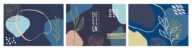 Modelo de design de cartões artísticos modernos. conjunto de projetos abstratos - venda de verão, conteúdo promocional de mídia social. formas coloridas da moda.