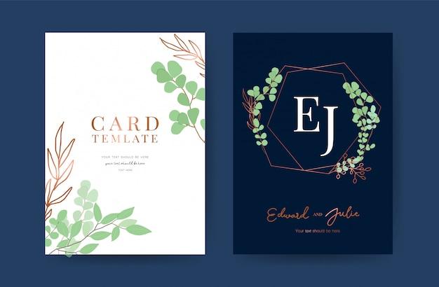 Modelo de design de cartões de convite de casamento