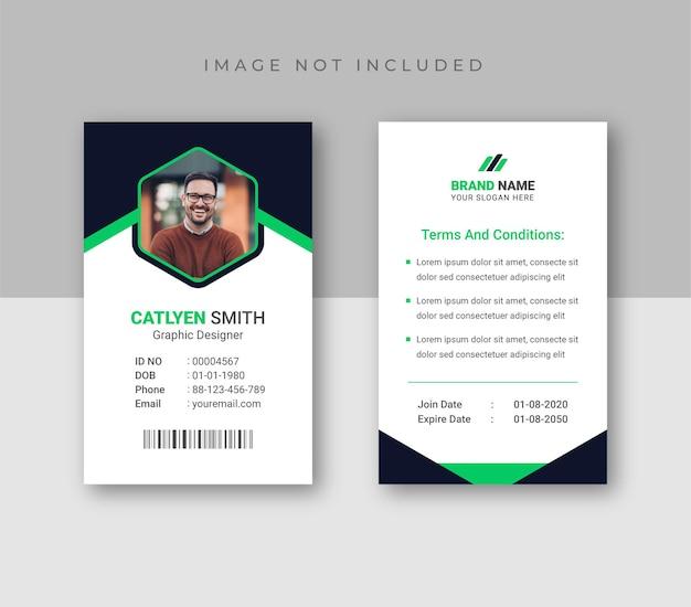 Modelo de design de cartões de identificação de design abstrato