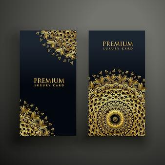 Modelo de design de cartões de mandala de luxo