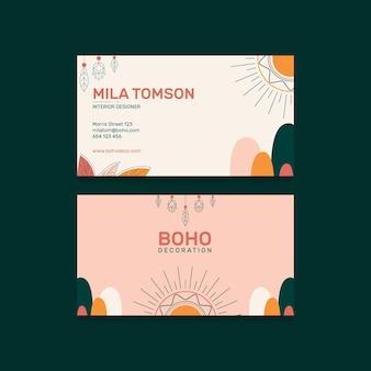 Modelo de design de cartões de visita boho