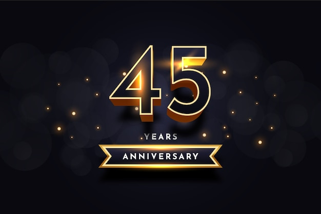 Modelo de design de celebração de aniversário de 45 anos