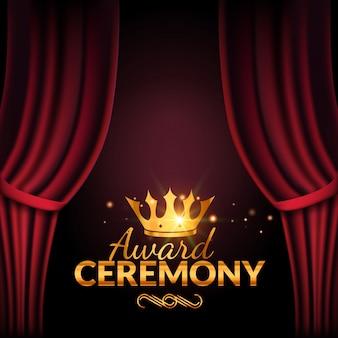 Modelo de design de cerimônia de premiação. evento de premiação com cortinas vermelhas. design de cerimônia de estréia de desempenho