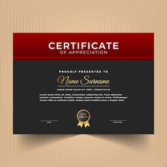 Modelo de design de certificado com cores vermelhas