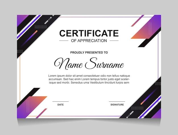 Modelo de design de certificado com formas geométricas