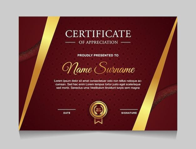 Modelo de design de certificado com formas modernas de luxo dourado