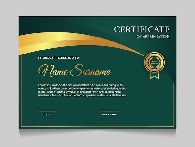 Modelo de design de certificado com formas modernas de luxo nas cores ouro e verde