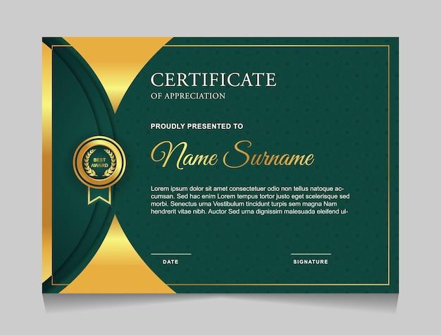 Modelo de design de certificado com formas modernas de luxo