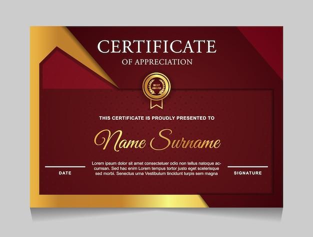 Modelo de design de certificado com formas modernas luxuosas em vermelho e dourado