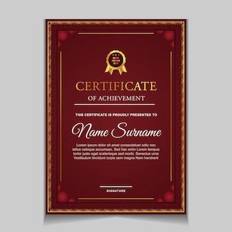 Modelo de design de certificado com formas modernas vermelhas e luxuosas