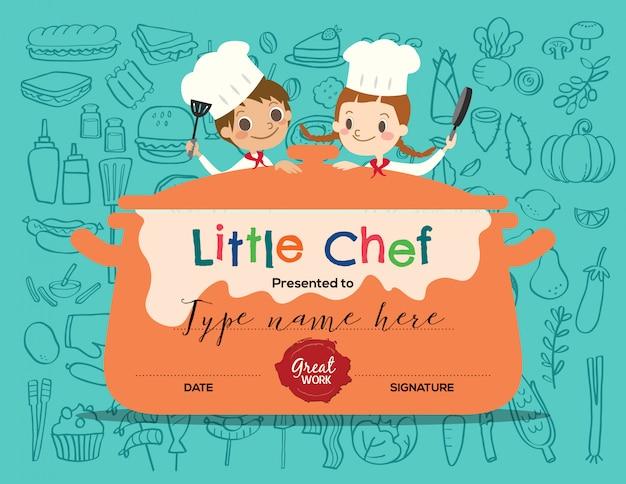 Modelo de design de certificado de aula de culinária para crianças