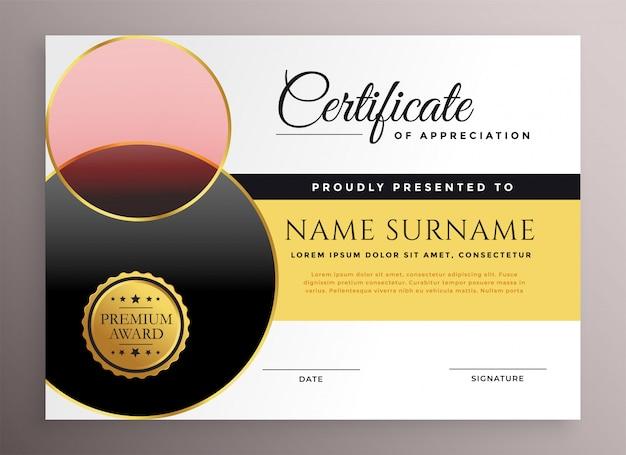 Modelo de design de certificado de empresa elegante moderno