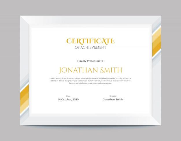 Modelo de design de certificado de fronteira de formas geométricas de ouro simples