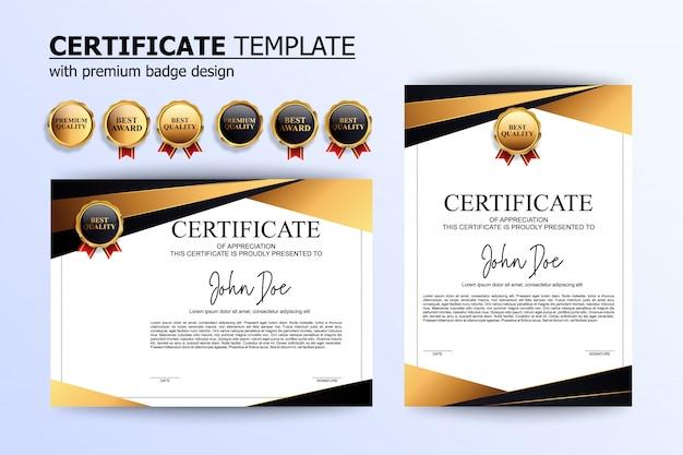 Modelo de design de certificado de ouro de luxo com crachá opcional