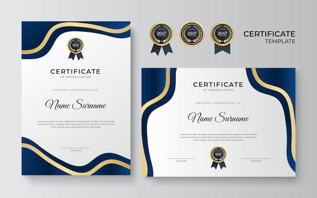 Modelo de design de certificado ouro azul moderno