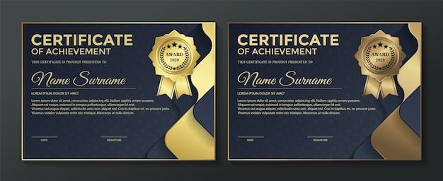 Modelo de design de certificado premium preto dourado. Vetor Premium