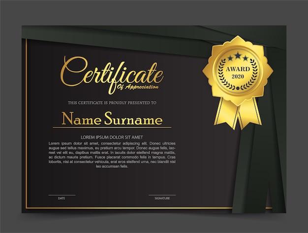 Modelo de design de certificado premium preto dourado.