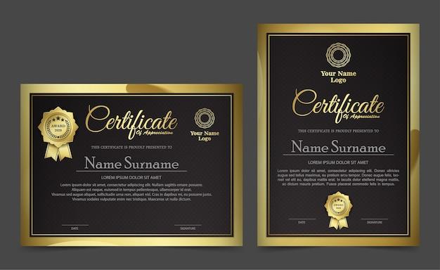 Modelo de design de certificado preto dourado.