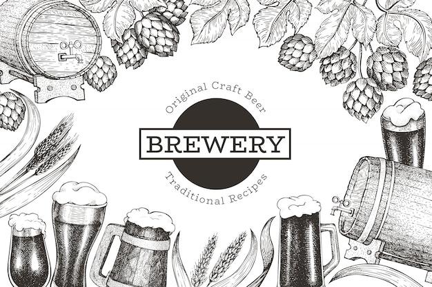 Modelo de design de cerveja e lúpulo. mão-extraídas ilustração em vetor cervejaria. estilo gravado. ilustração retrô de fabricação de cerveja.