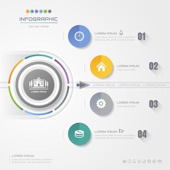 Modelo de design de círculo de infográficos com ícones