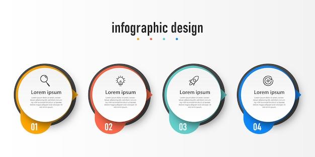 Modelo de design de círculo de infográficos de etapas do elemento de etapas