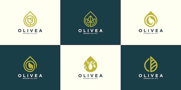 Modelo de design de coleção de logotipo de azeite