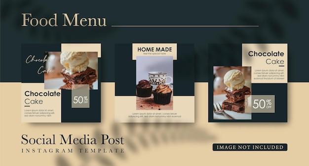 Modelo de design de comida e postagem no instagram para promoção de mídia social