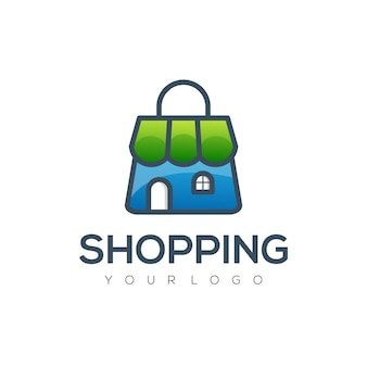 Modelo de design de compras coloridas com logotipo moderno