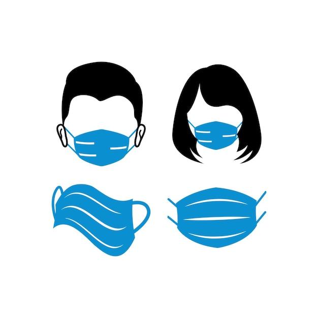 Modelo de design de conjunto de ícones de máscara facial