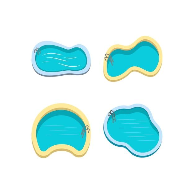 Modelo de design de conjunto de ícones de piscina Vetor Premium