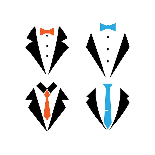 Modelo de design de conjunto de ícones de terno smoking