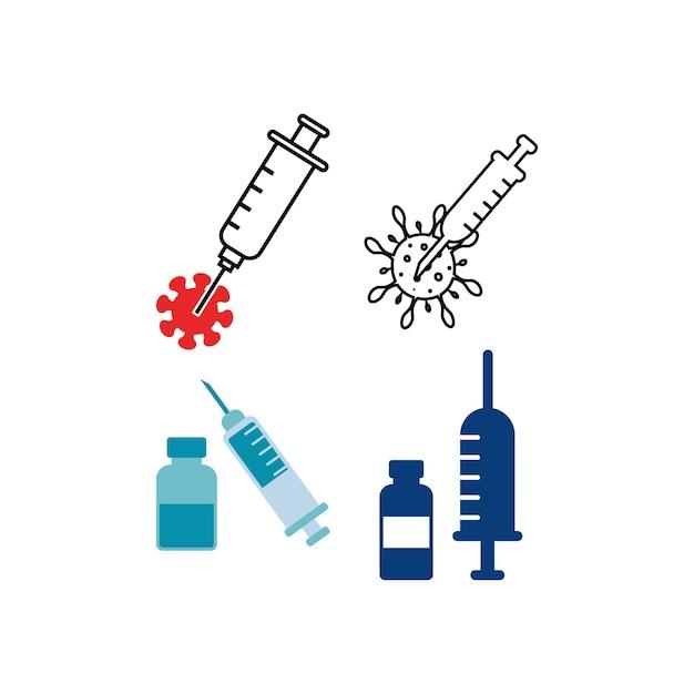 Modelo de design de conjunto de ícones de vacina covid