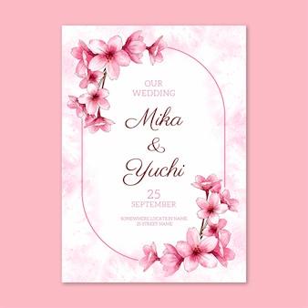Modelo de design de convite de cartão de casamento com design floral