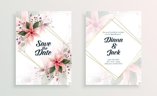 Modelo de design de convite de cartão de casamento com flores