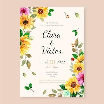 Modelo de design de convite de casamento com ilustração botânica