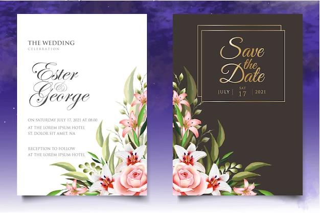 Modelo de design de convite de casamento em aquarela